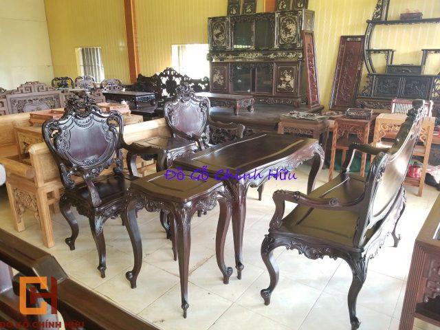 Bàn ghế louis 6 món gỗ gụ – mã 1369