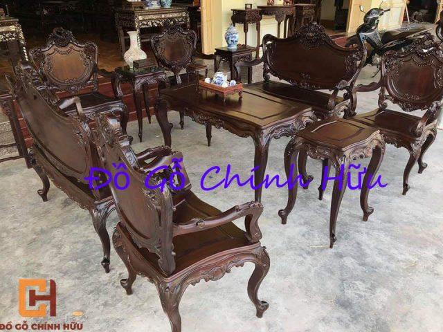Bộ ghế louis kiểu Pháp 09 món – mã 1023