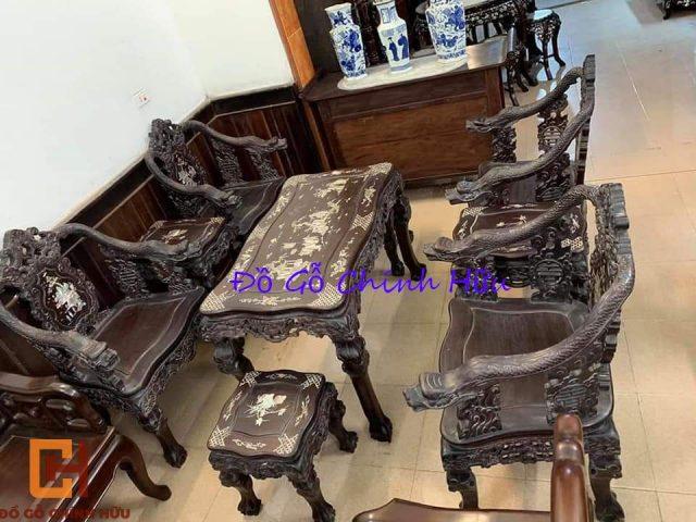 Bàn ghế vách rồng khảm ốc – mã 1347