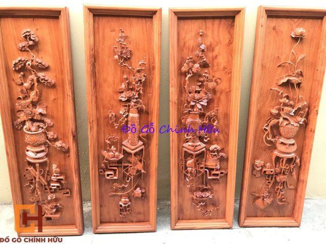 Tranh gỗ tứ quý gỗ gụ – mã 1381