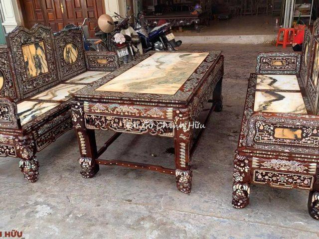 Trường kỷ tam sơn gỗ cẩm lai – mã 1736