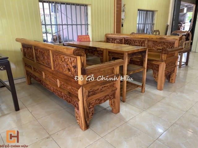 Trường kỷ tích đục tay hàng đại gỗ gụ Quảng Bình