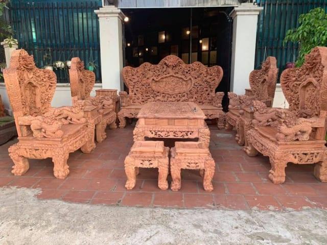 Bộ bàn ghế cửu long gỗ hương đá – mã 2189