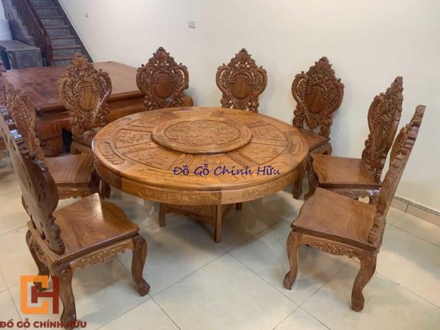 Bộ bàn ăn gỗ gõ – mã 2223